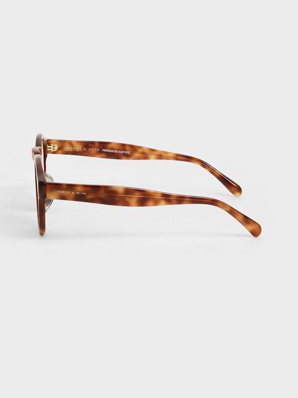 圓形膠框墨鏡, 玳瑁棕, hi-res