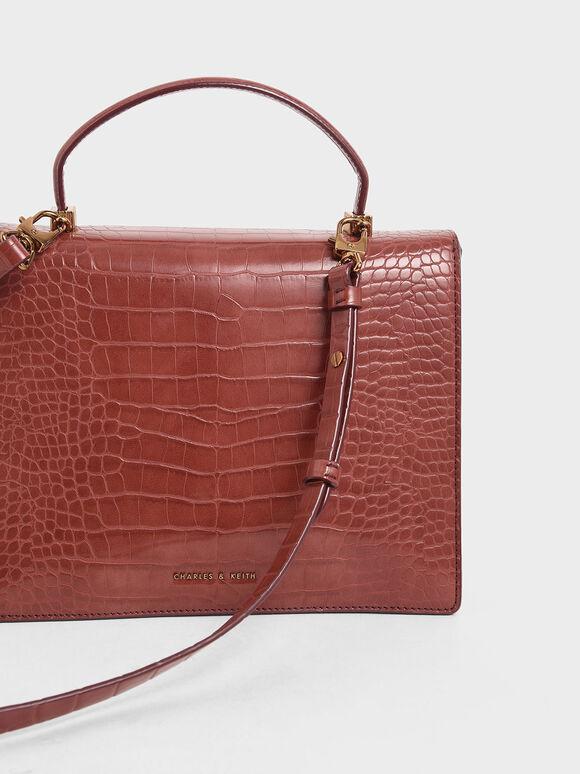 Croc-Effect Top Handle Bag, Clay, hi-res