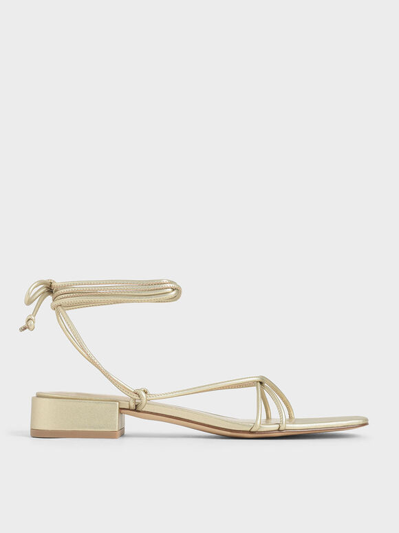 Strappy Ankle Tie Sandals, Gold, hi-res