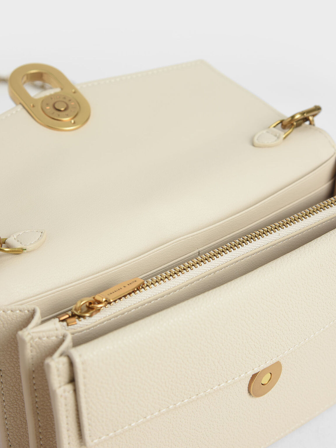 Stone-Embellished Envelope Wallet, Cream, hi-res