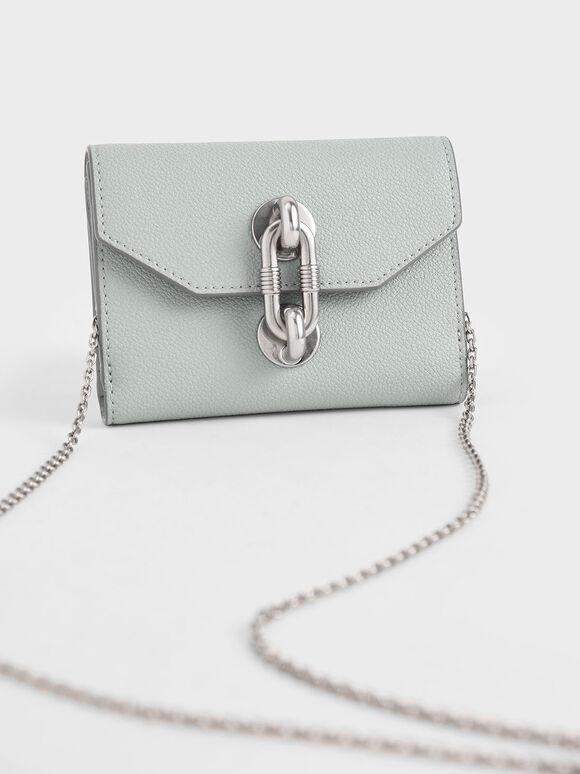 Chain Link Turn-Lock Mini Wallet, Light Blue, hi-res