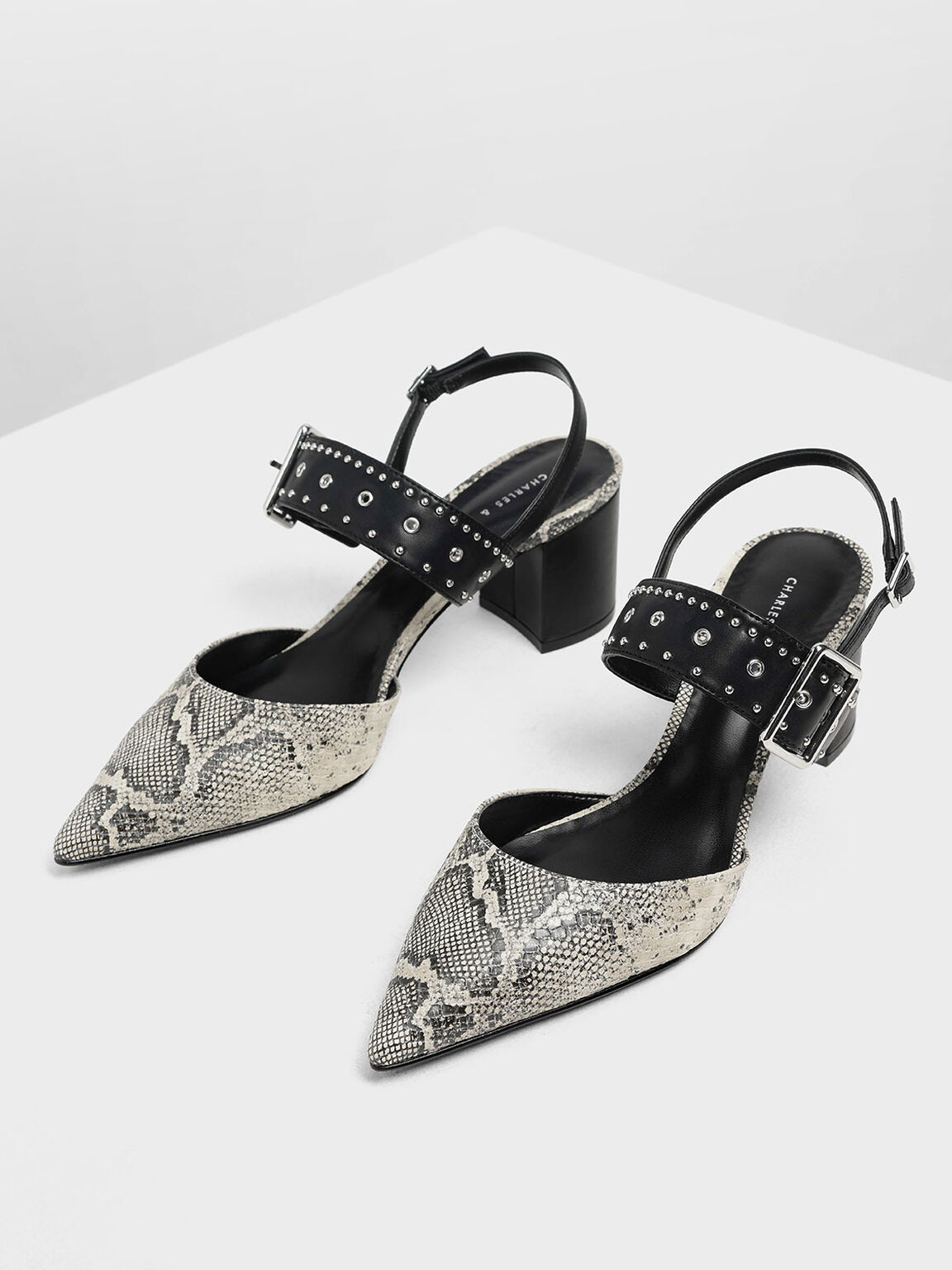 Snake Print Studded Pointed Slingbacks, Grey, hi-res