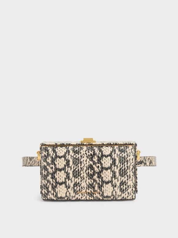 Snake Print Rectangular Belt Bag, Cream, hi-res