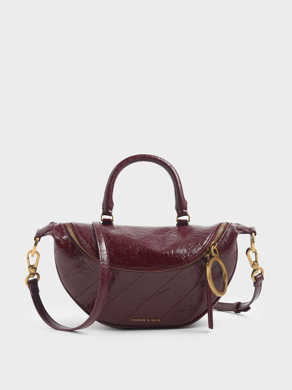 Wrinkled Effect Semi-Circle Crossbody Bag, Burgundy, hi-res