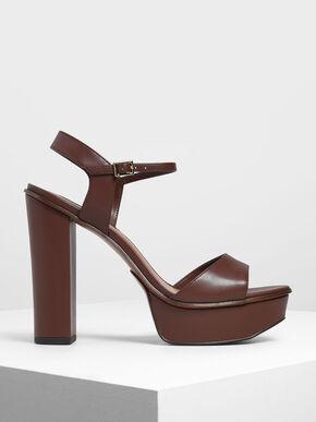 Block Heel Platform Shoes, Dark Brown