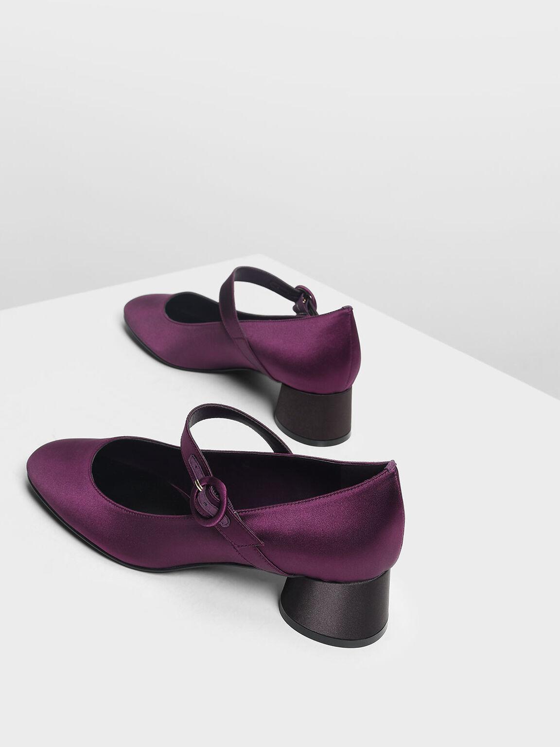 Cylindrical Block Heel Mary Janes, Purple, hi-res