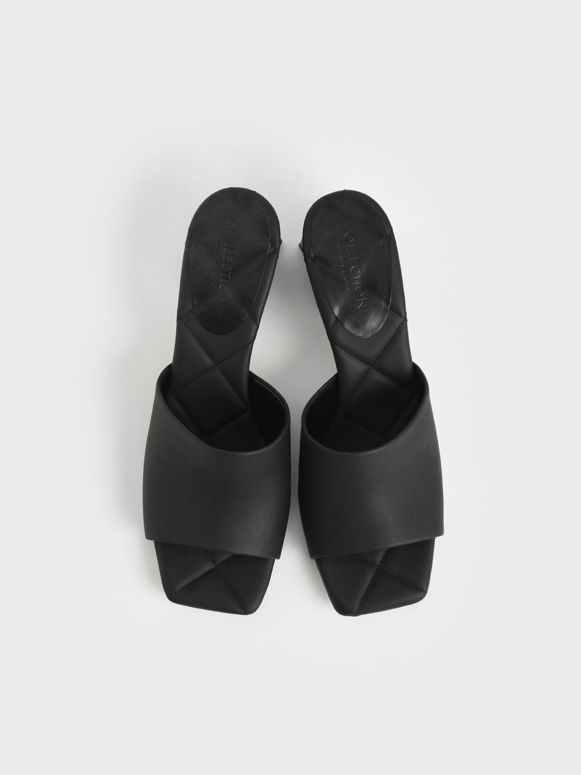 Leather Trapeze Heel Mules, Black, hi-res