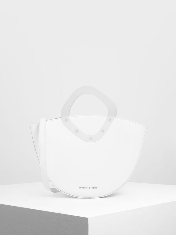Semi Circle Top Handle Bag, White