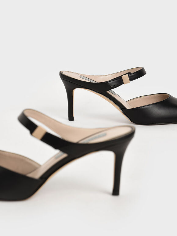 Ankle Strap Mules, Black, hi-res