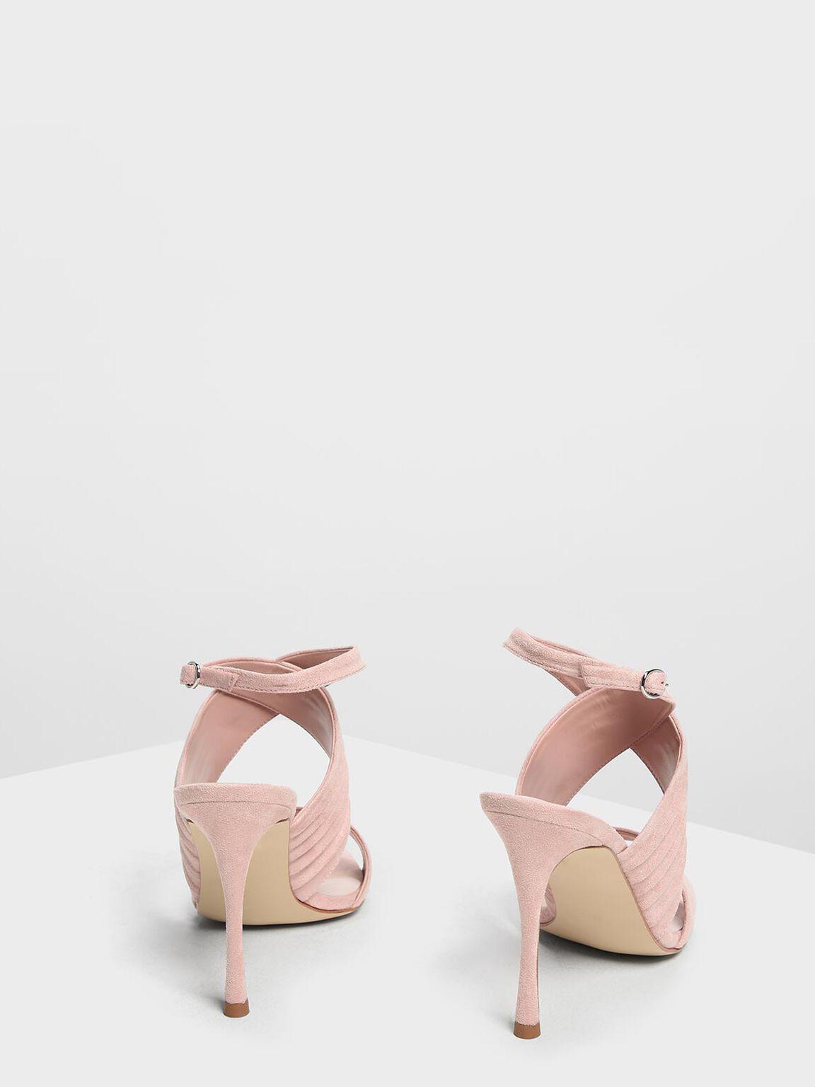 Criss Cross Pleated Heels, Blush, hi-res