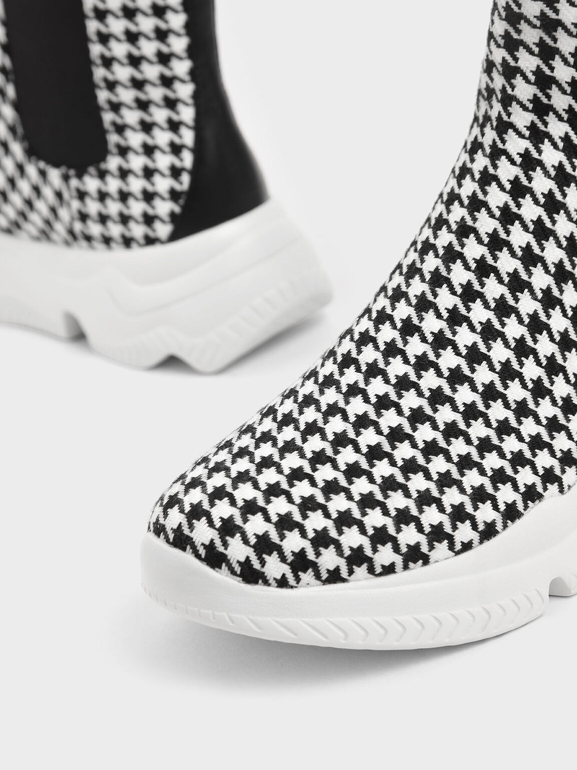 Houndstooth Print Chunky Sole Chelsea Boots, Multi, hi-res