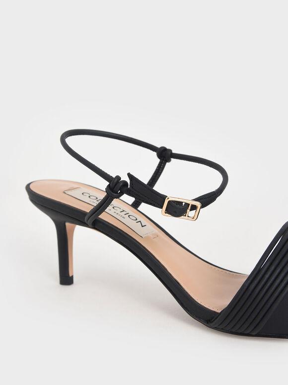 Leather Rope Detail Pumps, Black, hi-res