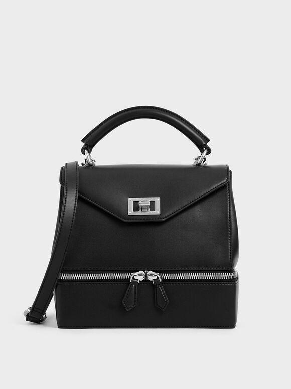 Two-Way Zip Top Handle Bag, Black, hi-res