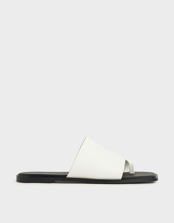 White Toe Loop Slide Sandals | CHARLES