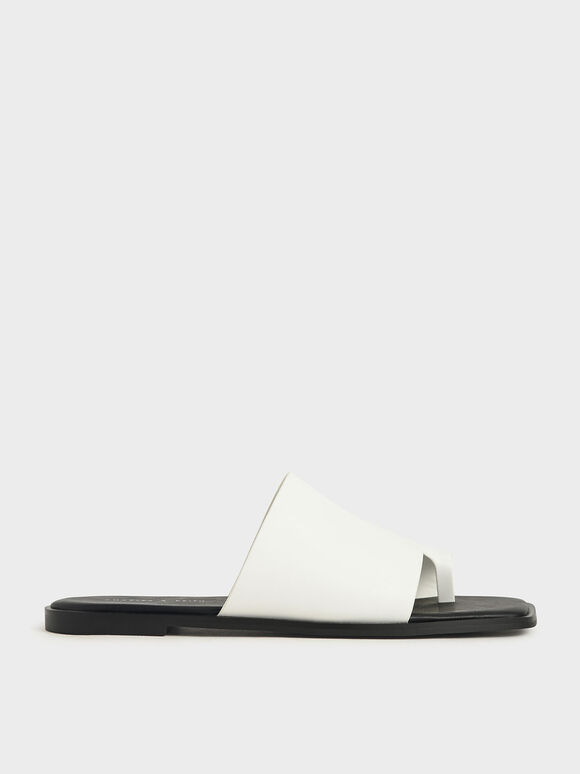 Toe Loop Slide Sandals, White, hi-res