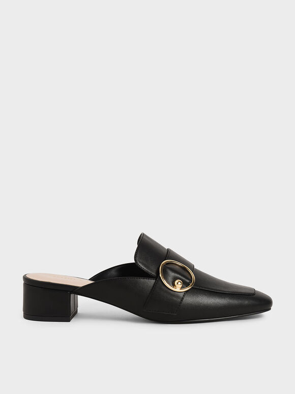 Ring Embellished Loafer Mules, Black, hi-res