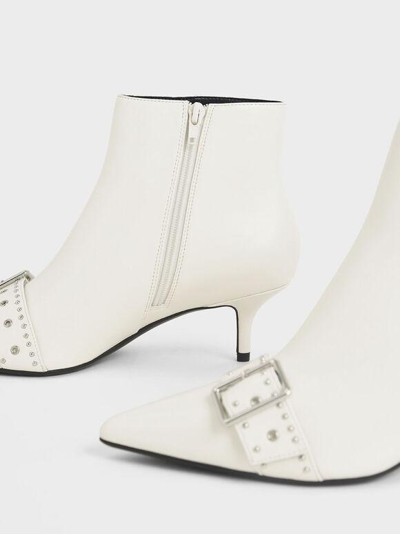 金屬扣環短靴, 白色, hi-res