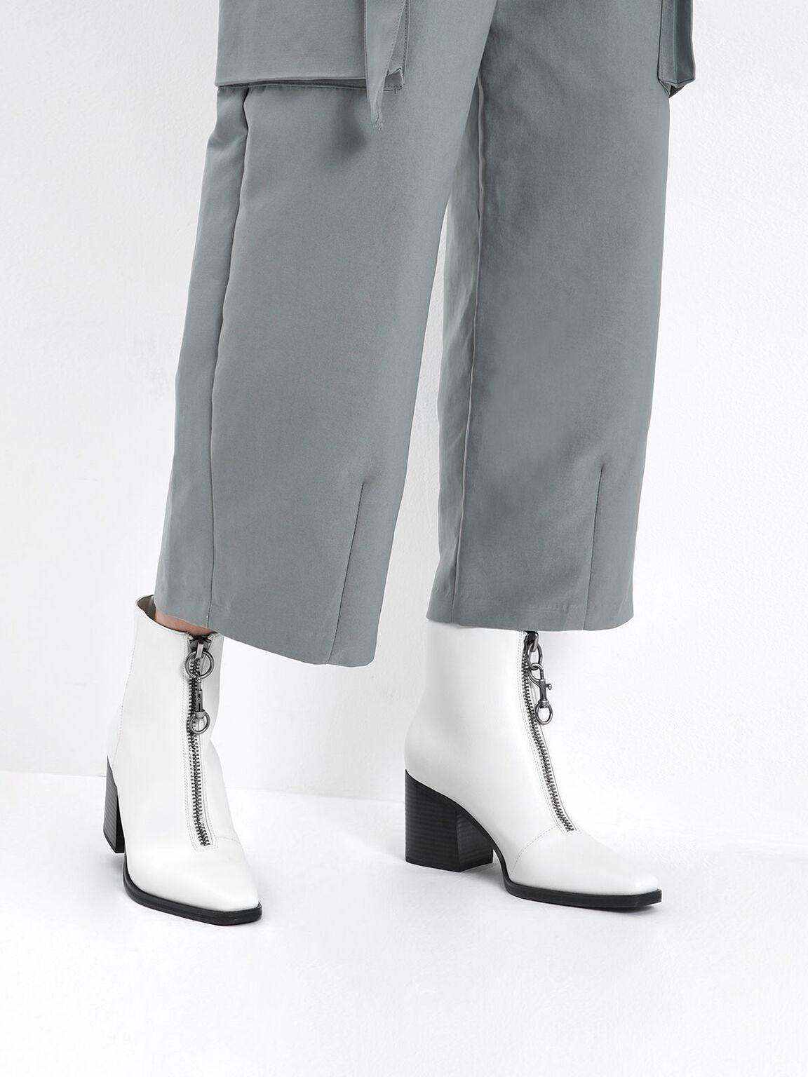拉鍊粗跟短靴, 白色, hi-res