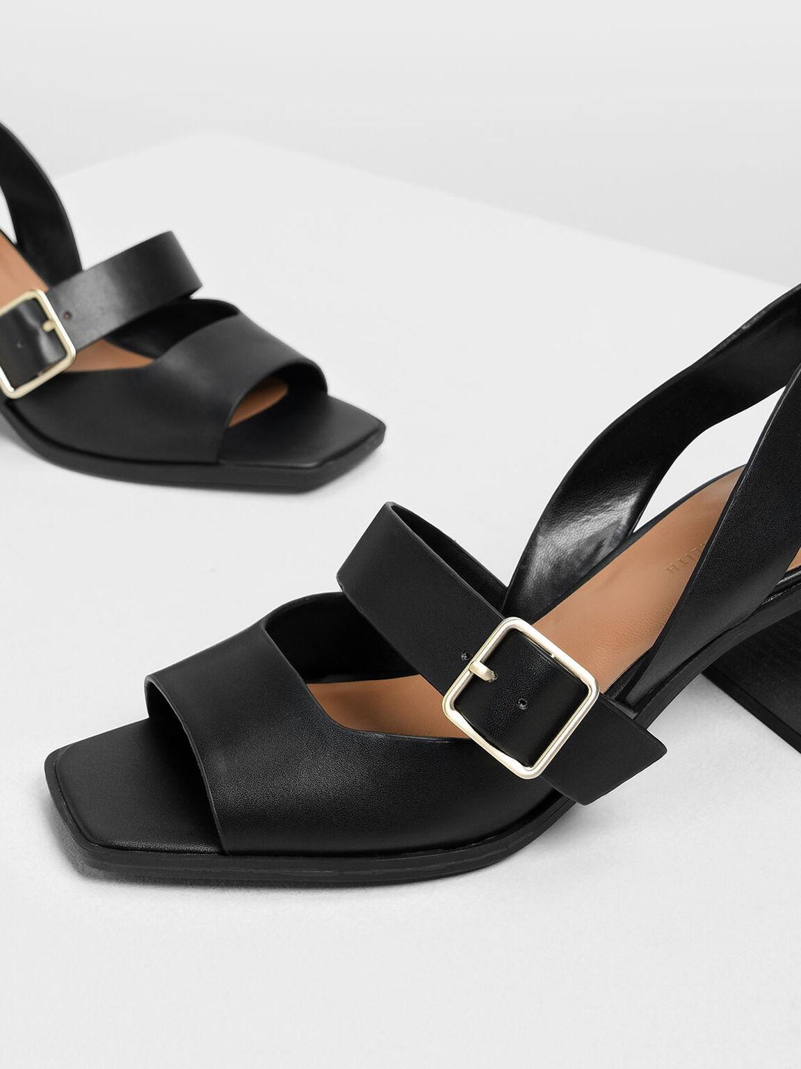 Square Toe Block Heels, Black, hi-res