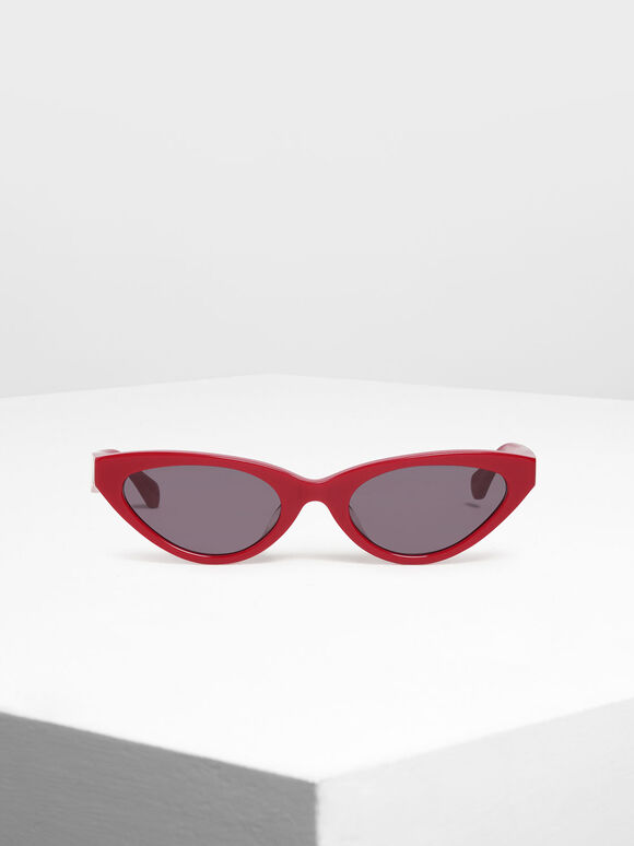 오벌 프레임 선글라스, Red, hi-res