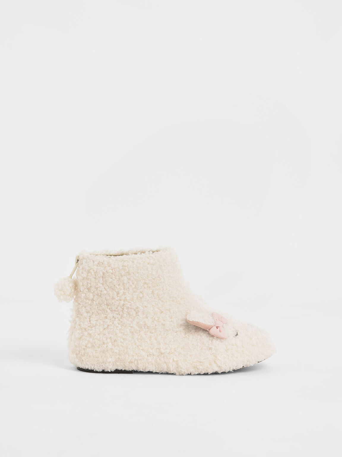 Girls' Nellie The Lamb Furry Ankle Boots, Beige, hi-res