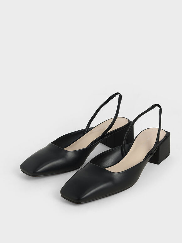 Square Toe Slingback Pumps, Black, hi-res