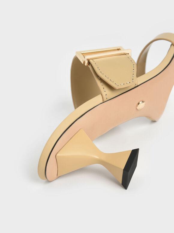 Leather Metallic Buckle Spool Heel Mules, Yellow, hi-res