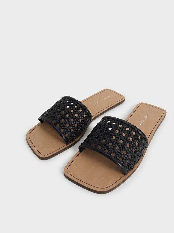 編織方頭拖鞋, 黑色, hi-res