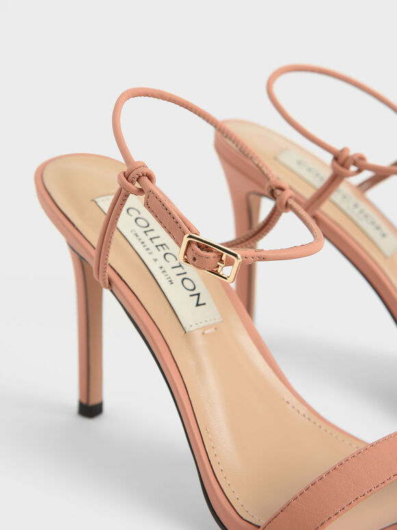Leather Knotted Heeled Sandals, Tan, hi-res