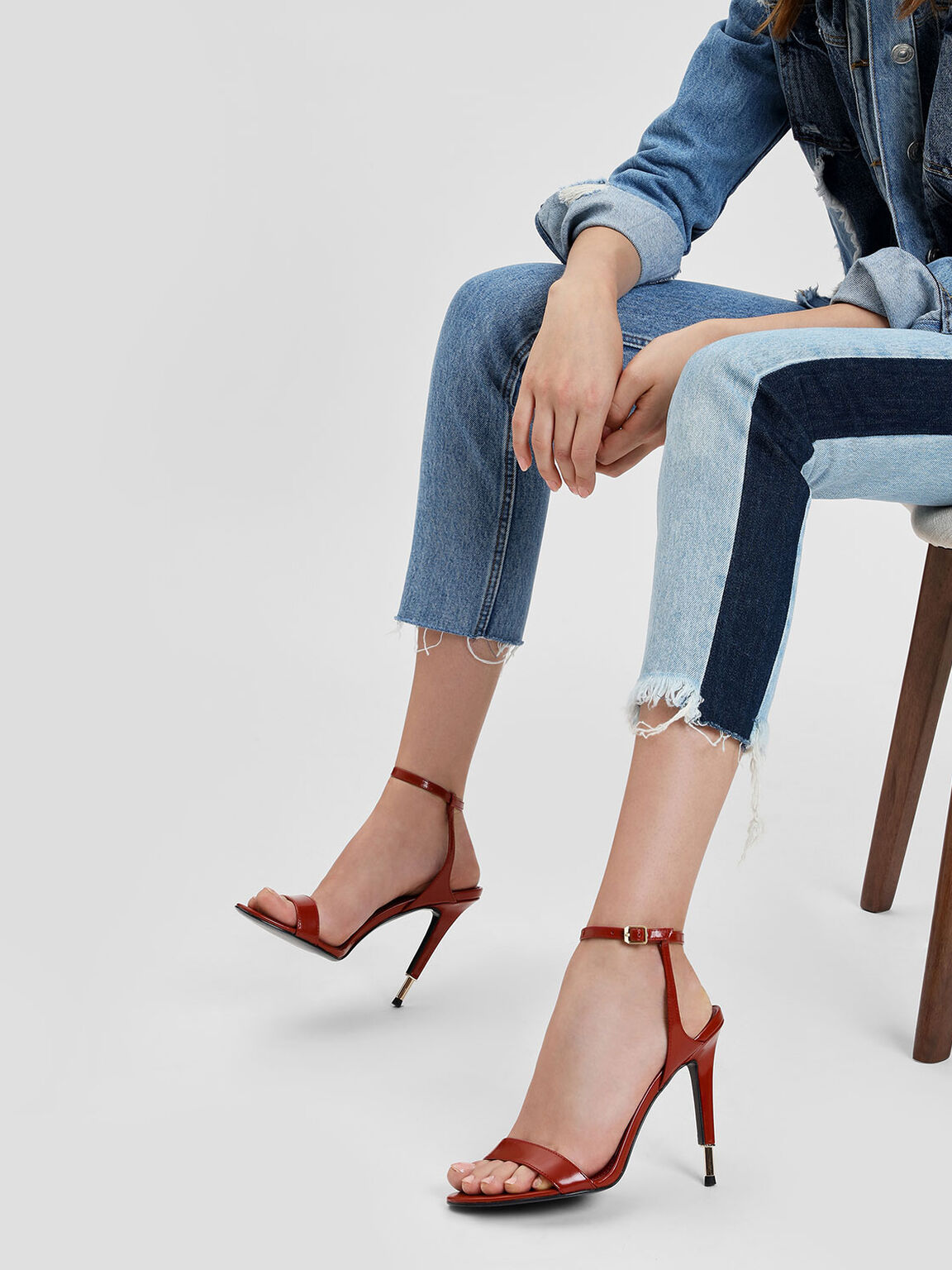 Stiletto Leather Sandals, Red, hi-res