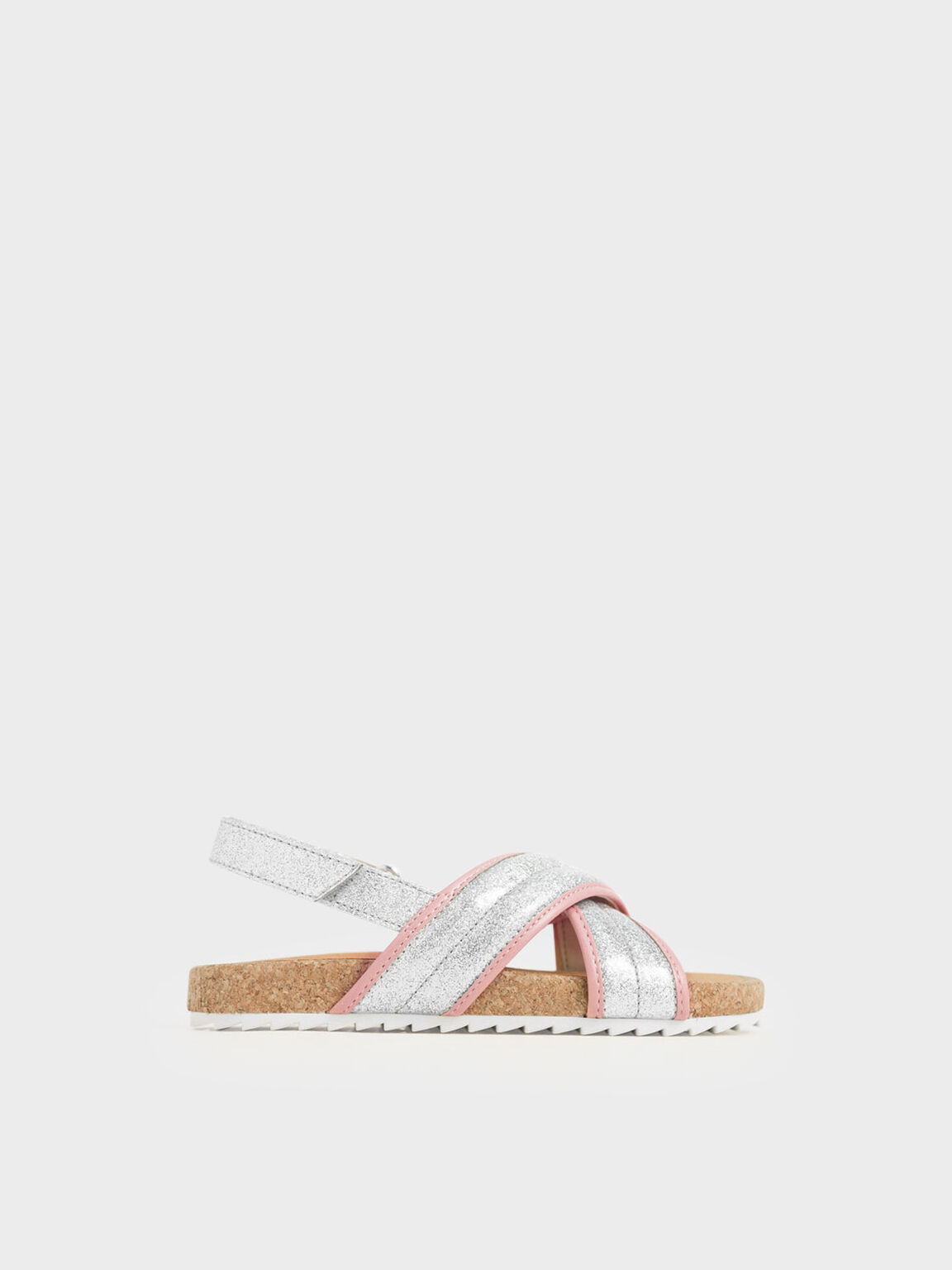 Girls' Glitter Criss Cross Sandals, Silver, hi-res