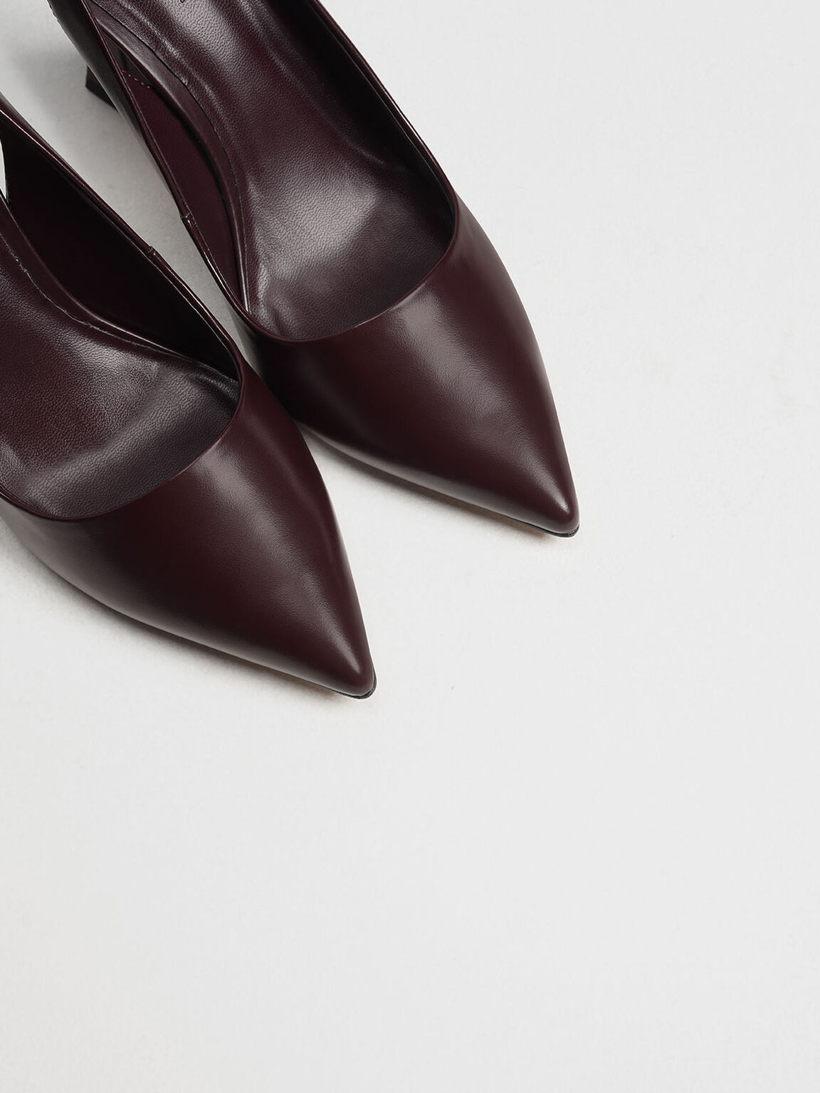 Sculptural Heel Slingback Pumps, Burgundy, hi-res
