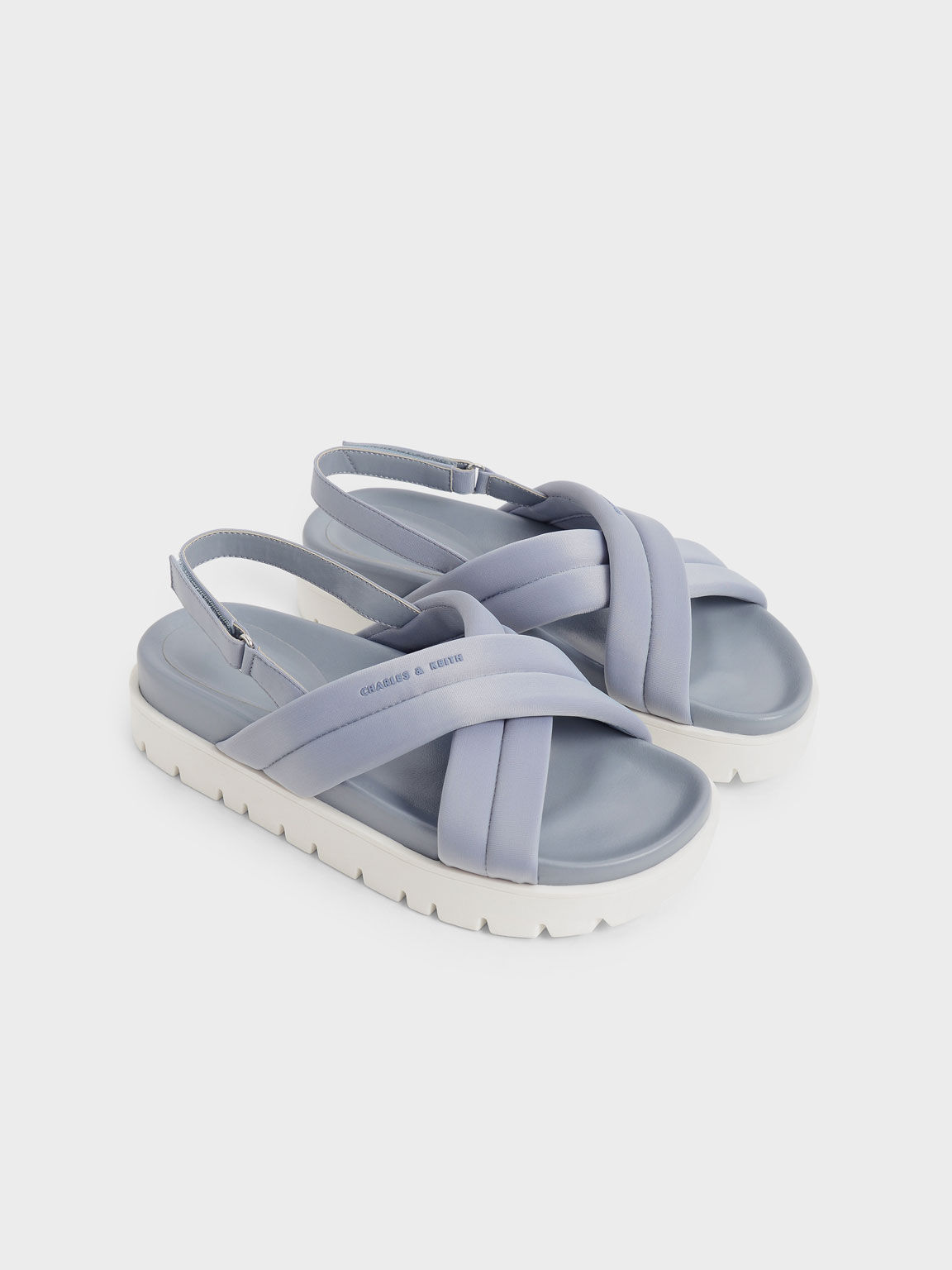 環保聚酯纖維交叉涼鞋, 淺藍色, hi-res