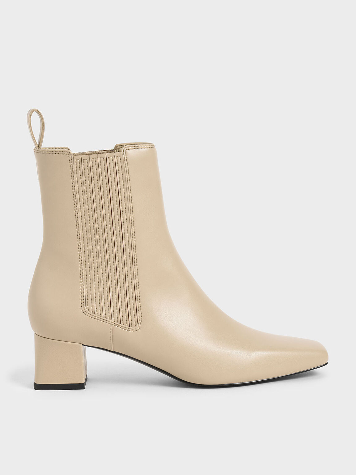 Stitch Trim Ankle Boots, Beige, hi-res