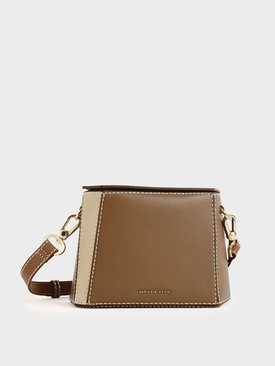 Two-Tone Boxy Bag, Khaki, hi-res