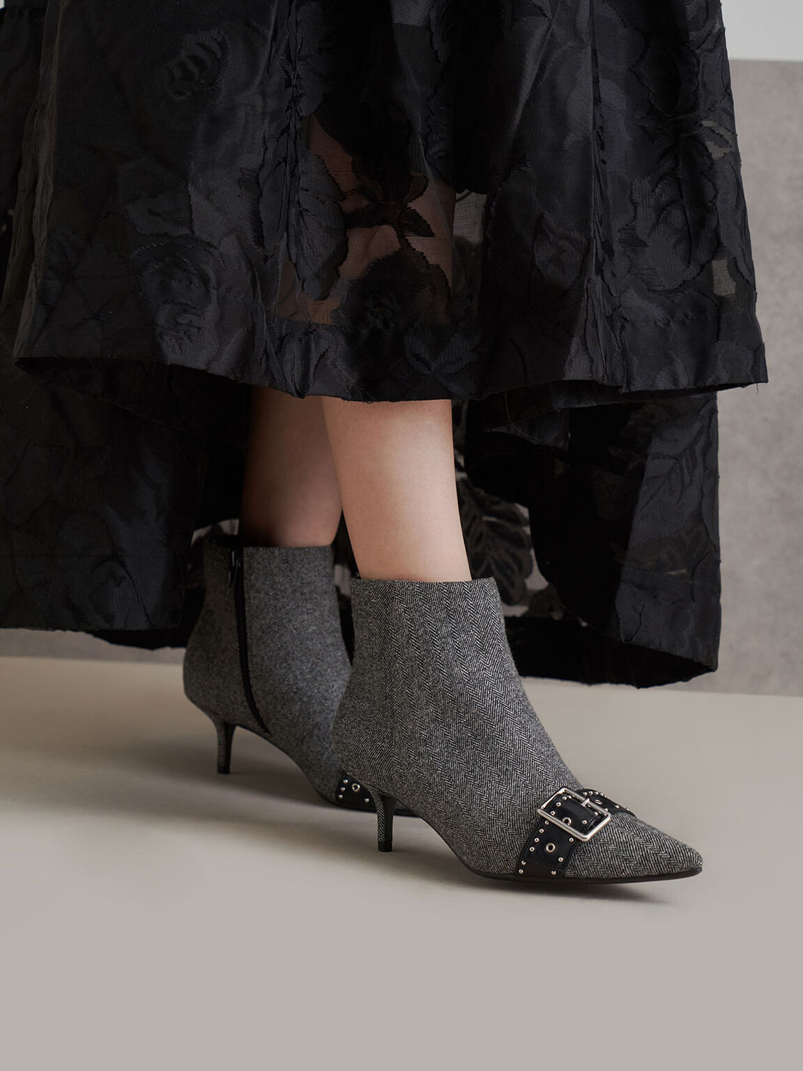 Woven Fabric Studded Ankle Boots, Dark Grey, hi-res