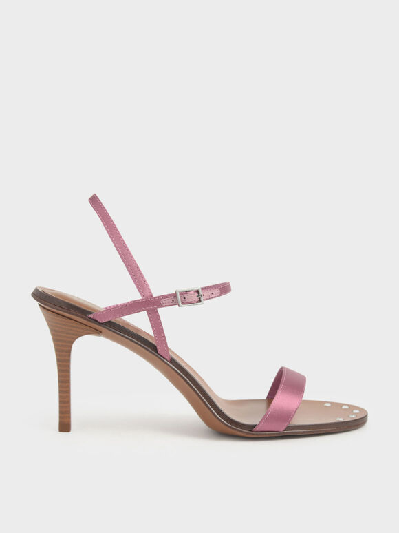 Satin Embellished-Sole Stiletto Heels, Pink, hi-res