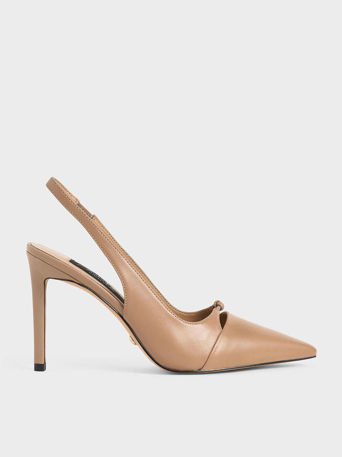 Leather Stiletto Heel Slingback Pumps, Nude, hi-res
