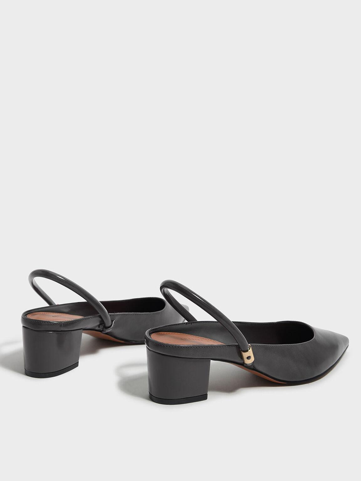 Pointed Slingback Heels, Grey, hi-res