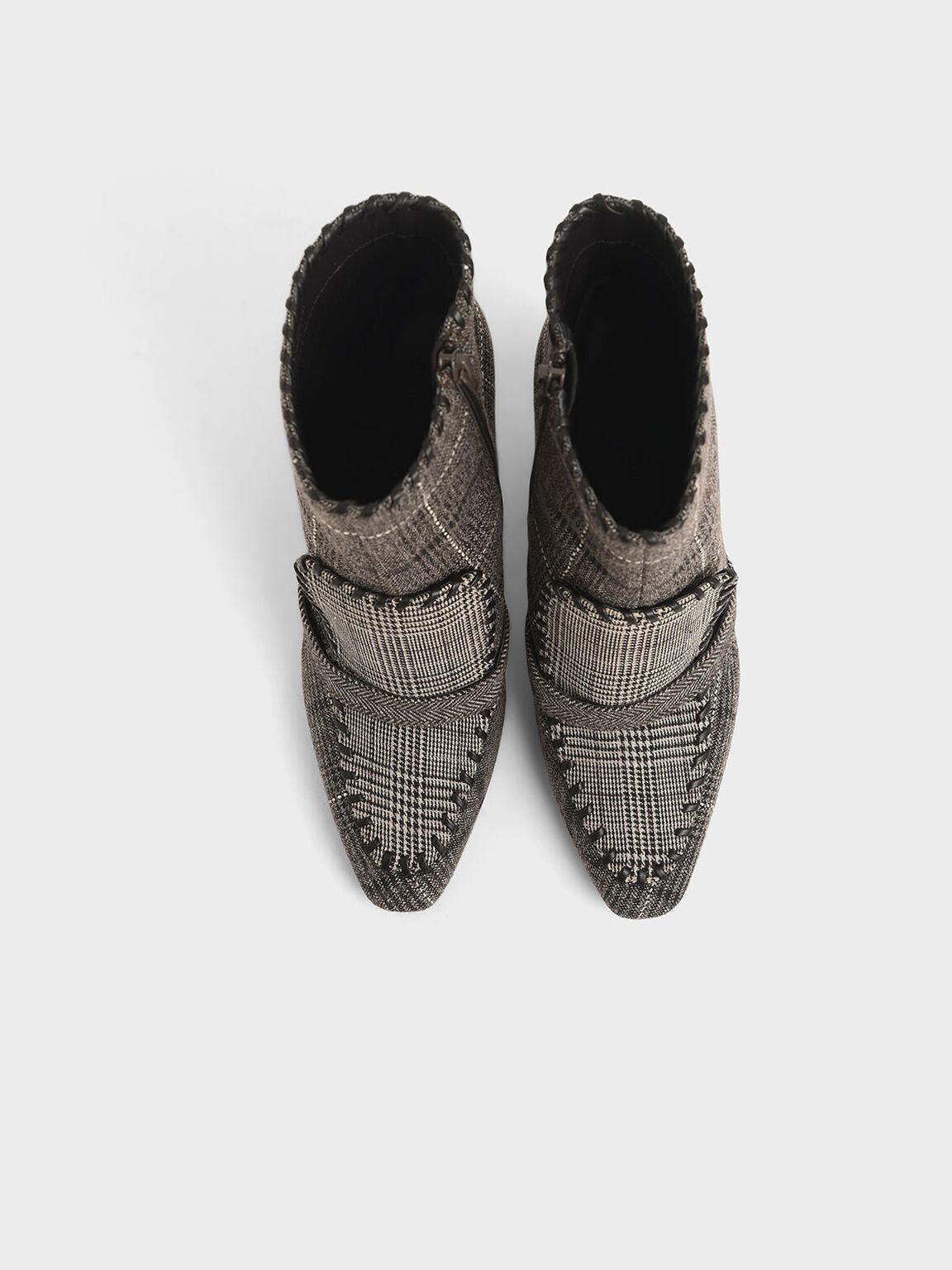 Tweed Whipstitch Trim Calf Boots, Multi, hi-res