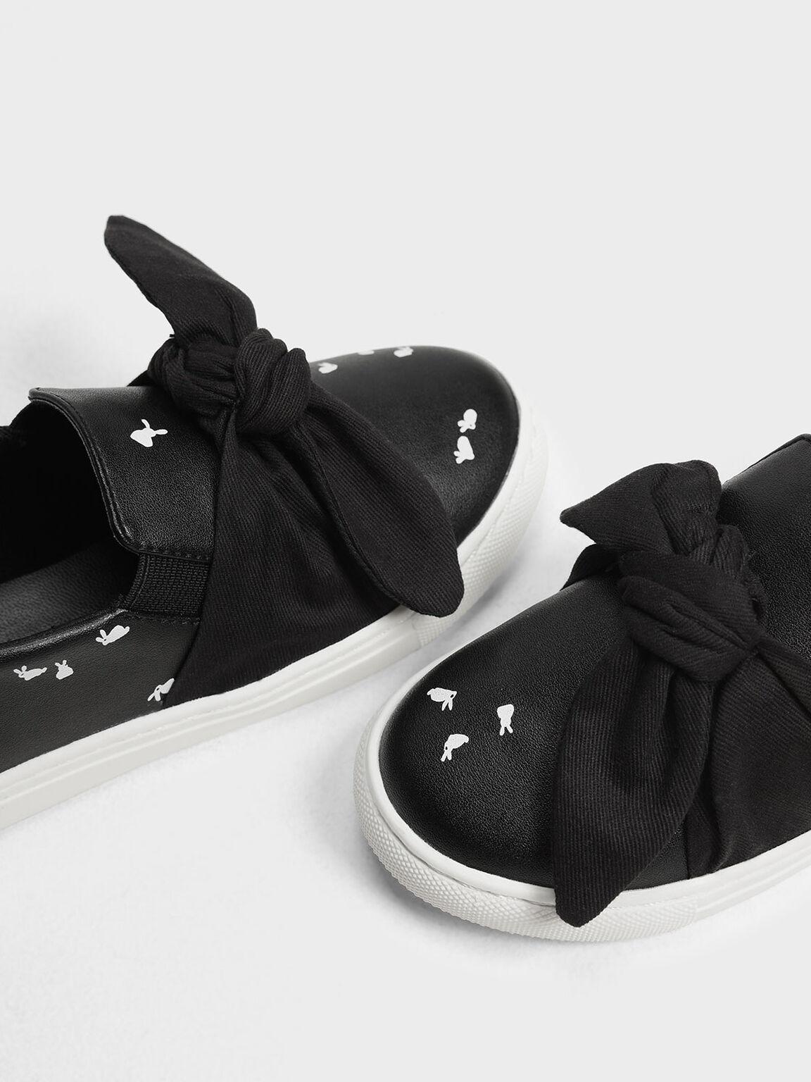 Kids' Bow Slip-On Sneakers, Black, hi-res