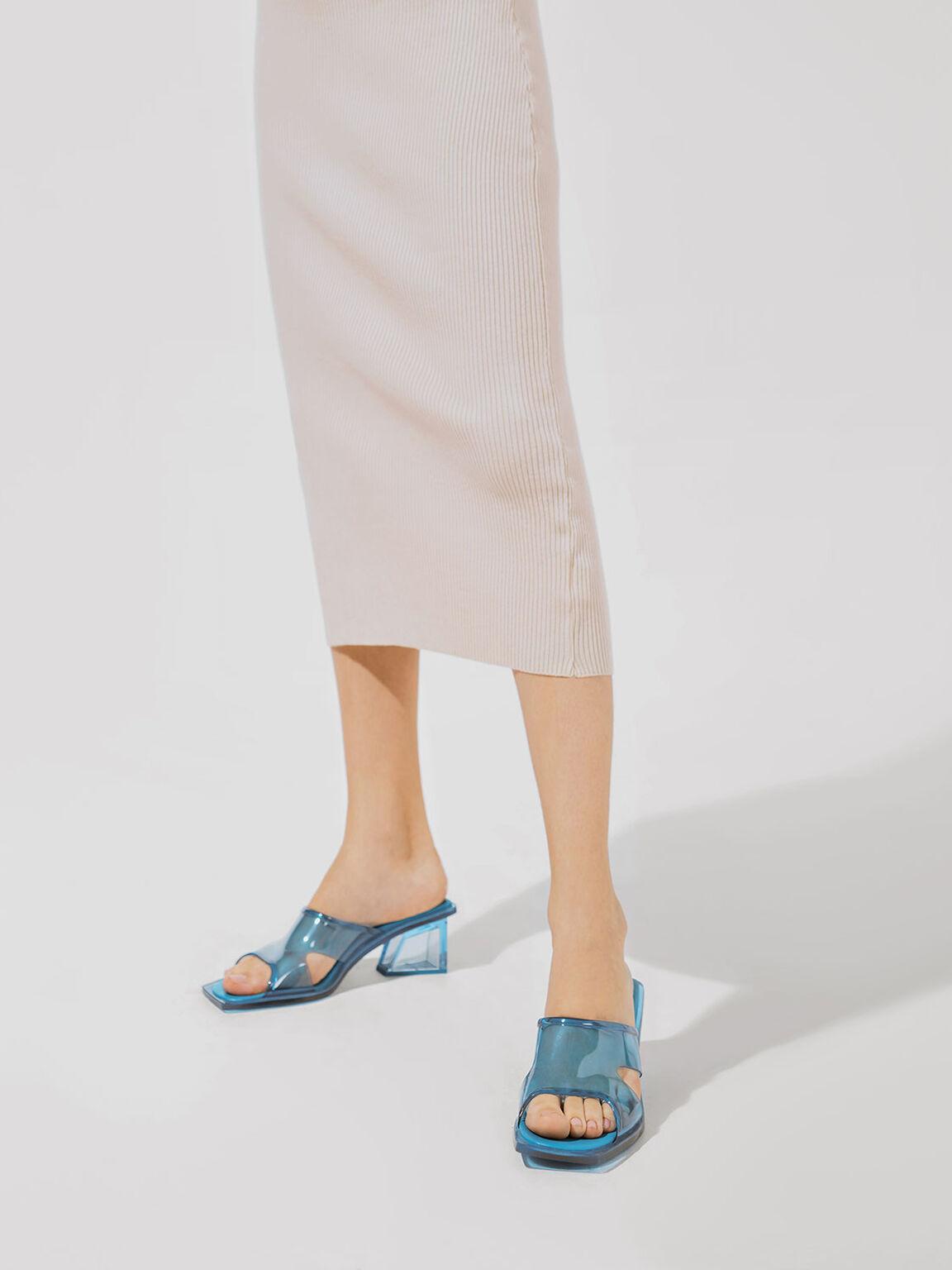 Acrylic Heel Mules, Teal, hi-res