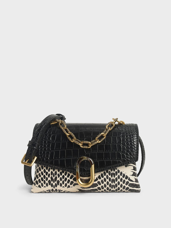 Croc-Effect Chunky Chain Strap Trapeze Bag, Multi, hi-res