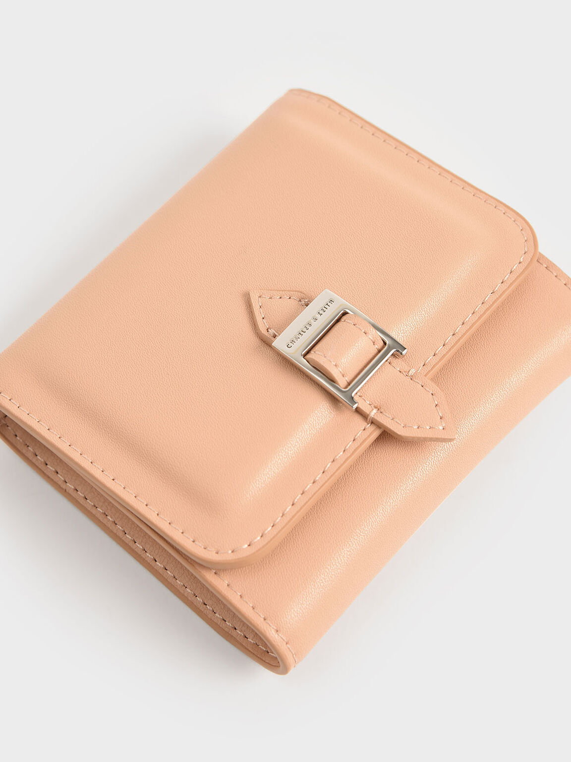 Buckle Strap Short Wallet, Nude, hi-res