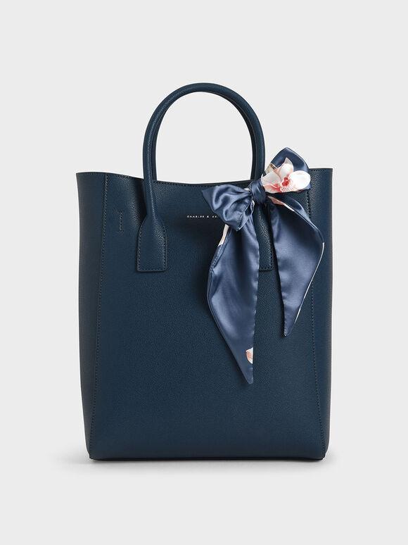 Chiffon Scarf Tote Bag, Blue, hi-res
