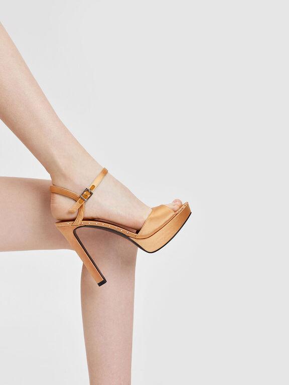 Embellished Detail Platform Heels, Mustard, hi-res