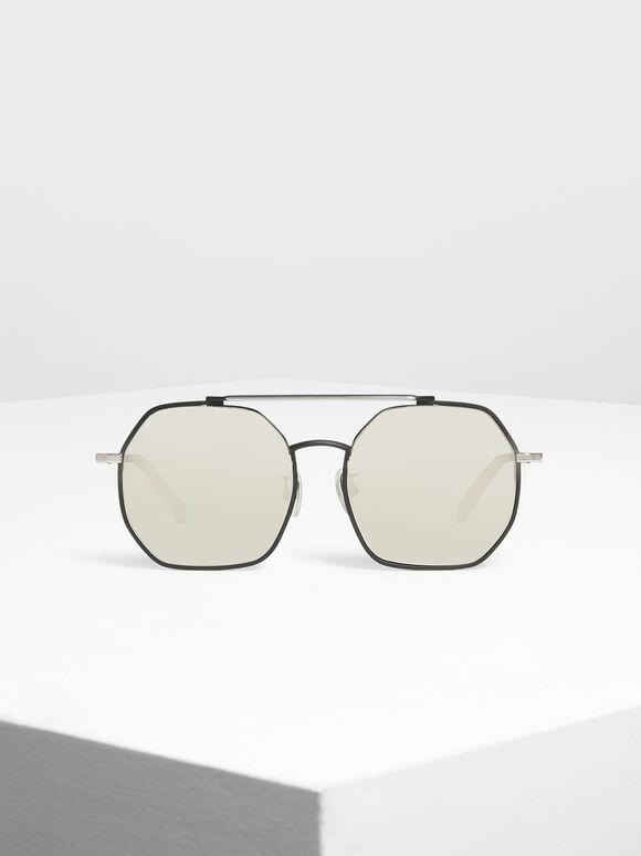 Geometrical Frame Sunglasses, Black, hi-res