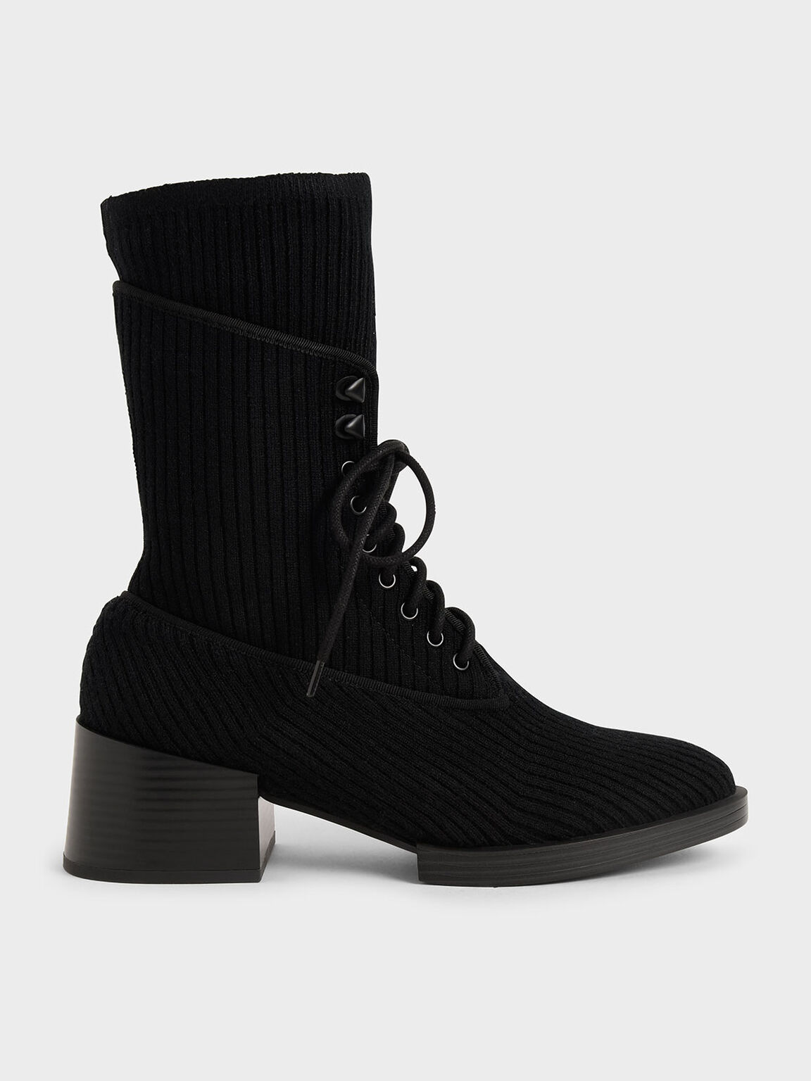 Knitted Lace-Up Ankle Boots, Black, hi-res