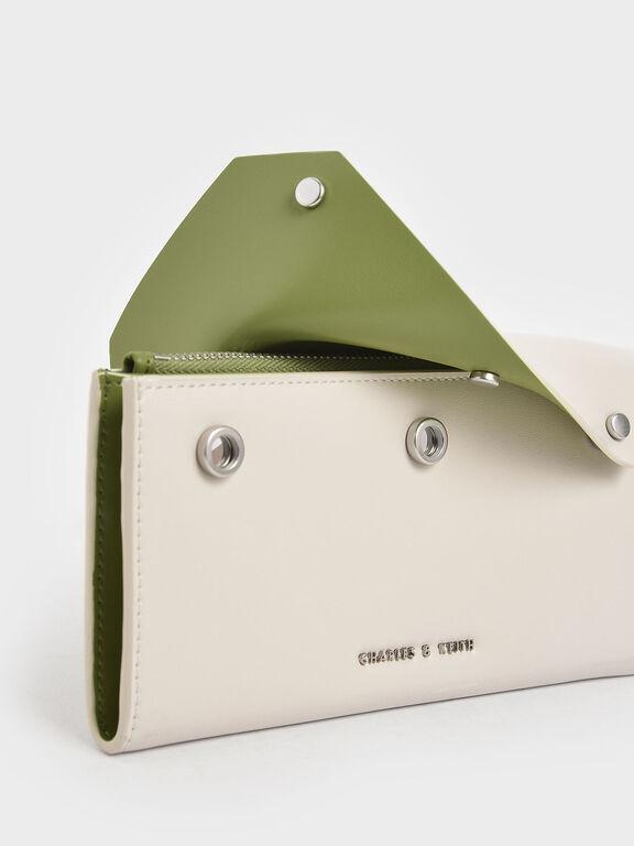 Reversible Front Flap Mini Long Wallet, Cream