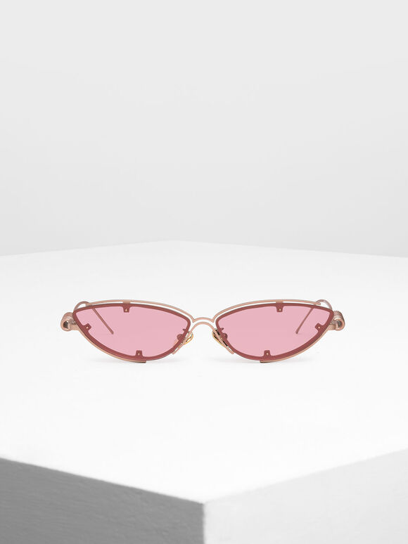 Double Frame Cat-Eye Sunglasses, Pink, hi-res